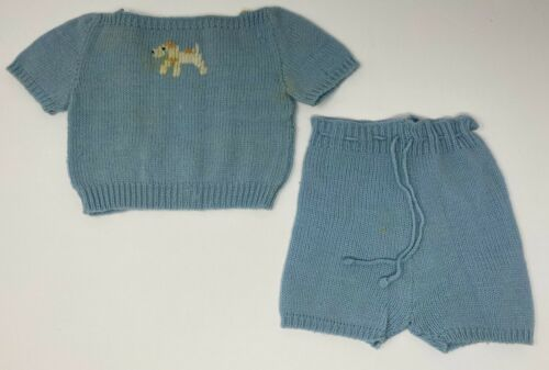 Vintage Knox Knit Childs Girls Blue Wool Knot Shorts Top Outfit With Dog