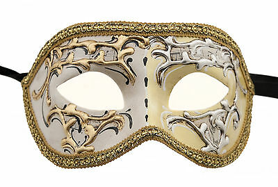 Mask from Venice Colombine Night and Day Yellow for Fancy Dress 1336 V75