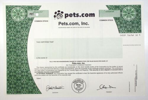 2000 Pets.com Stock Certificate SPECIMEN