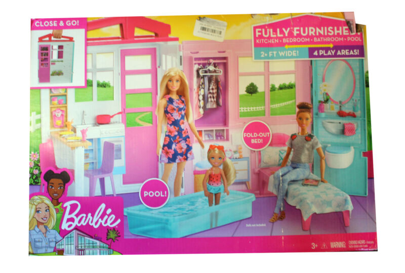 Barbie Fully Furnished Dollhouse with Pool and Accessories; Distressed Packaging