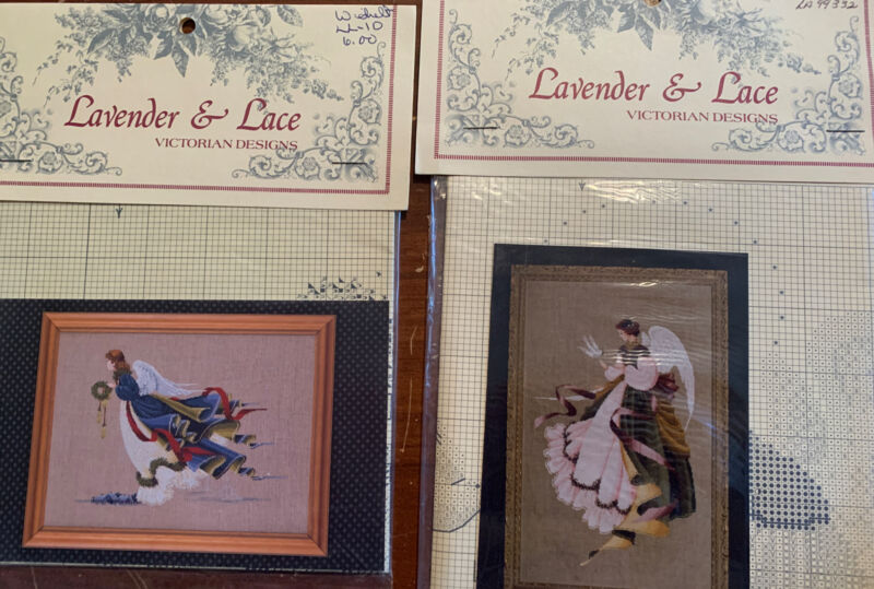 """2 Lavender & Lace Cross Stitch Leaflets """"Angel of Freedom and Angel Of Grace"""""""