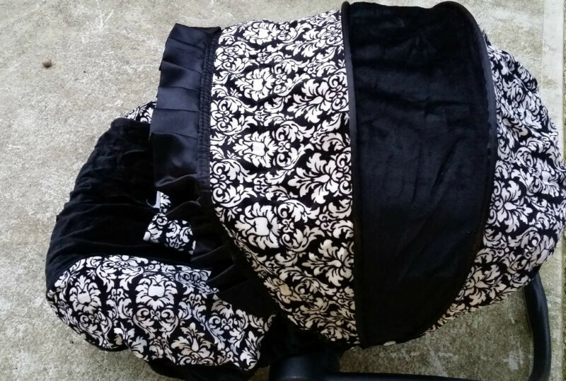 baby car seat cover canopy cover set fit most seat black white