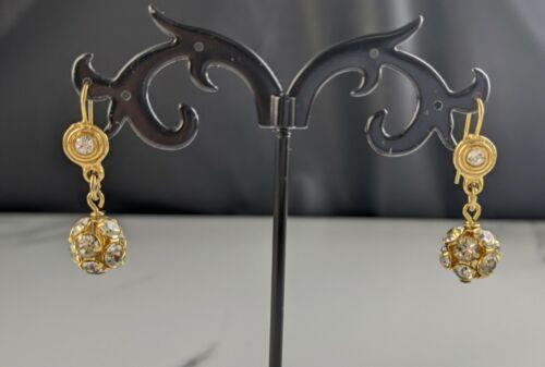 Lovely Vintage Jewellery Rhinestone Dangle Hook Earrings