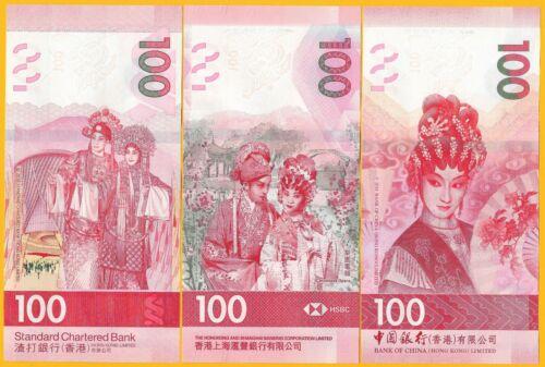 Hong Kong 100 Dollars p-new 2019 SET 3 BANKS UNC Banknotes