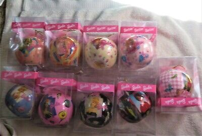 Lot of 9 Barbie Decoupage Christmas Ball Ornaments In Original Packaging VGC