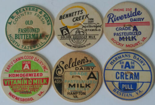 6 VINTAGE MILK BOTTLE CAPS FROM DIFFERENT VIRGINIA DAIRIES