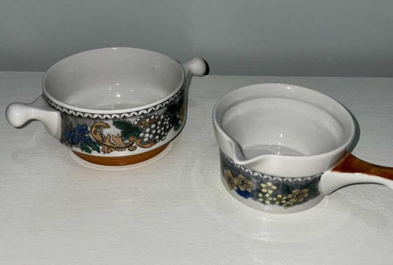Goebel BURGUND Oeslauer Manufaktur Bavaria China Cream Soup Bowl & Butter Sauce