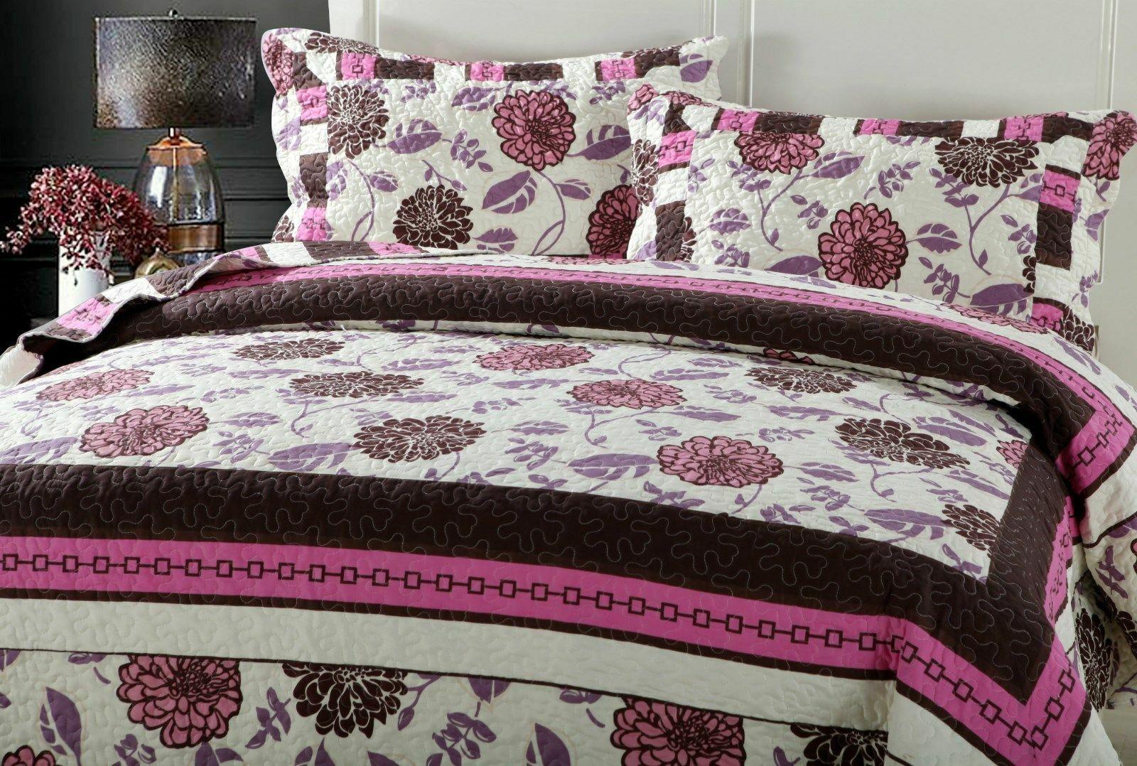 DaDa Bedding Bohemian Pink Purple Brown Floral Garden Bedspr