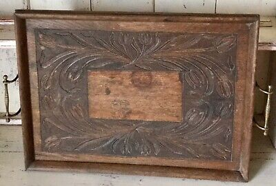 Vintage Chateau French ANTIQUE OAK Tray Brass Butlers Tray Handles