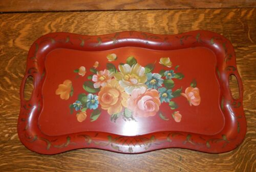 "Vintage Large Toleware Tray 24""x14""-Handpainted Floral Scalloped Edge Handles"