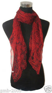 Beautiful 100% Silk Red Rose Flower Pattern Oblong Scarf 56