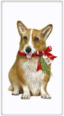 NEW Festive Christmas Corgi Dog  Flour Sack Dish Tea Towel Mary Lake Thompson