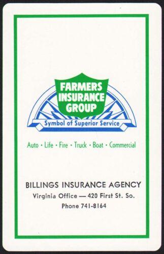 Vintage playing card FARMERS INSURANCE GROUP Billings Insurance Group Virginia