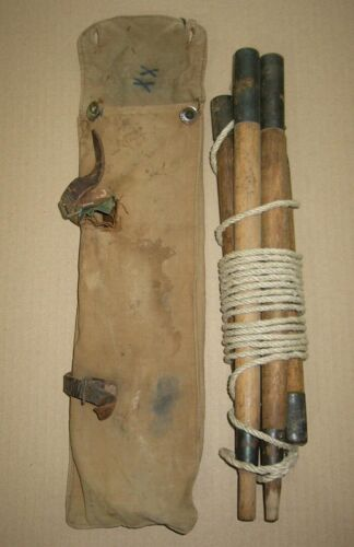 Very Rare Original WWI German Zeltbahn army tent Poles + Rope, marked 1916 Coln