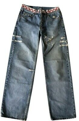 Vintage Designer Gucci Tom Ford 1999 Beaded Rip Distressed Genius Jeans. Sz 38.