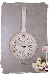 WALL CLOCK SHABBY CHIC KITCHEN TIMER PAN WATCH IN COUNTRY HOUSE STYLE
