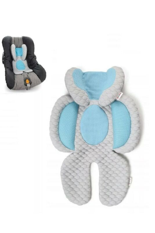 NEW Munchkin Cool Cuddle Baby Head Body Support For Carseat Stroller Gray Blue