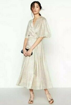Jenny Packham Light gold 'ultimate sparkle' wrap midi dress, special occasion