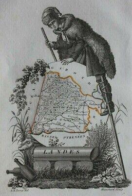 Miniature antique map, LANDES, MONT-DE-MARSAN, DAX, FRANCE, Perrot, 1824