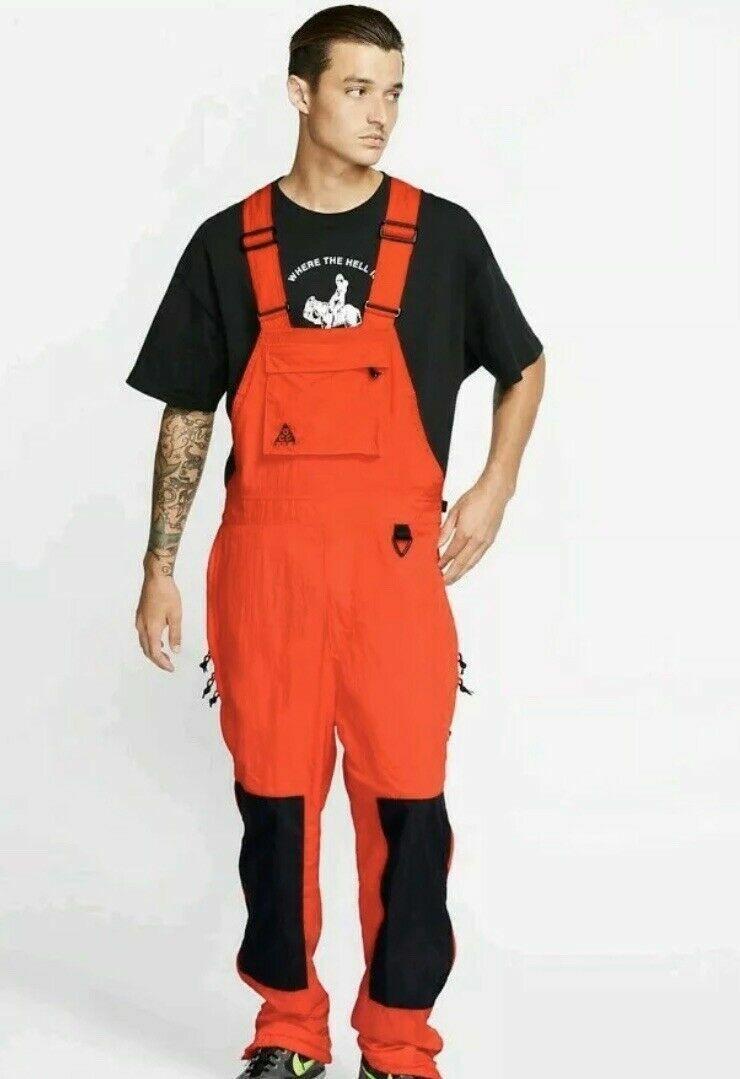Nike ACG Men's Woven Overalls Nylon Bib Red Men's Size LAR