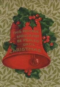 ANTIQUE-RED-BELL-HOLLY-BERRY-BERRIES-CHRISTMAS-STICKER-SMALL-ART-COLOR-OLD-PRINT
