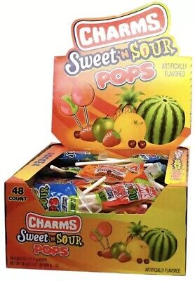 Charms Blow Pops Sweet N Sour Candy Pop Bulk Sucker Lollipops 48 ct (Sweet Sour Lollipops)