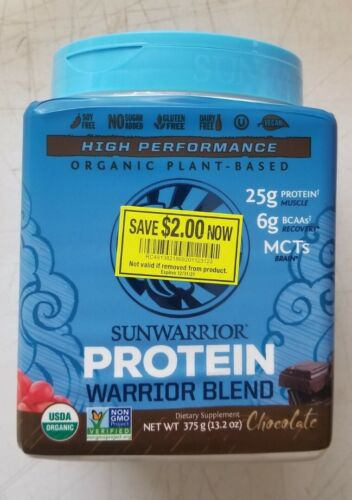 Sunwarrior, Warrior Blend Protein, Organic Plant-Based, Chocolate, 13.2 oz 1/21