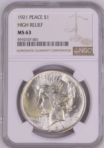 1921 SILVER PEACE DOLLAR HIGH RELIEF GRADED MS63 BY NGC.