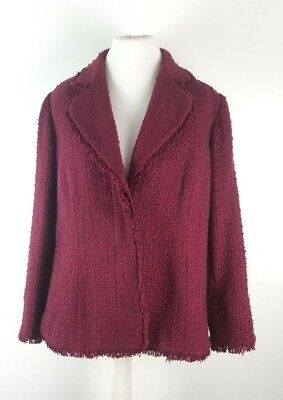 - Joanna Hope Ladies Berry Boucle Tweed Jacket UK 22 Plus Size Mother of the Bride