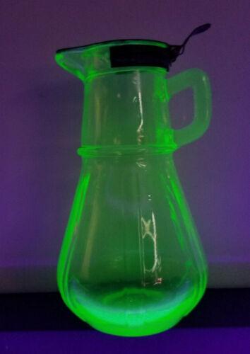 Depression Glass Syrup Dispenser Green UV Hazel Atlas