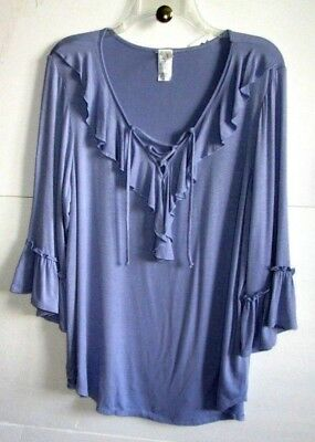 PERSEPTION  0X INDIGO SCOOP V-NECK PULLOVER RUFFLE KNIT TOP Rayon/Span 3/4 NWT