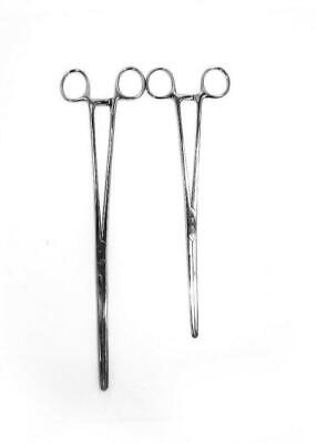 2pc Set 7 8 Straight Hemostat Forceps Locking Clamps Stainless Steel