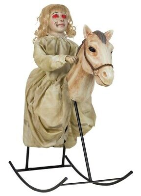 Halloween Animated doll on a Rocking Horse Prop USA import spirit Halloween