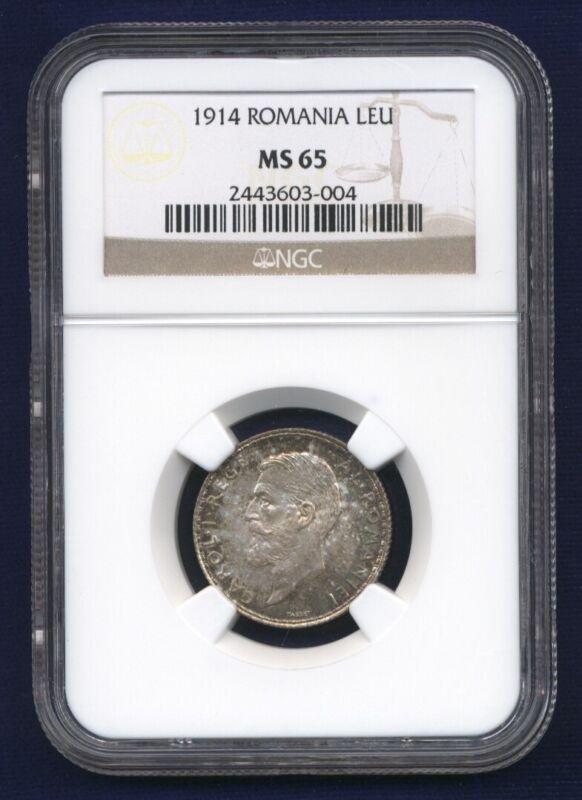ROMANIA CAROL I  1914  1 LEU  SILVER COIN, GEM UNCIRCULATED, CERTIFIED NGC MS65