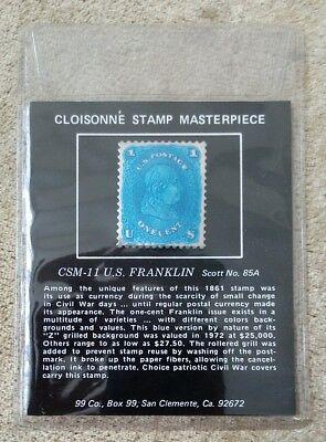 """CLOISONNE STAMP MASTERPIECE CSM-11 U.S. FRANKLIN, Silver """"1861"""" Stamp 1.000 Fine"""