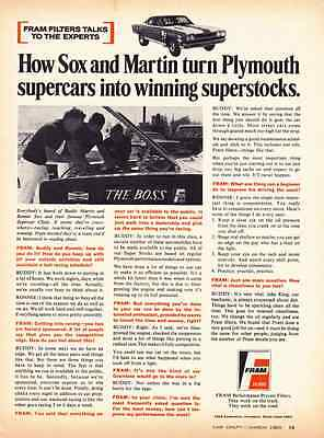 1969 PLYMOUTH ROAD RUNNER PRO STOCK / SOX & MARTIN ~ ORIGINAL FRAM FILTER AD