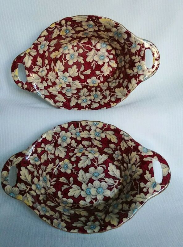 Vtg BCM Lord Nelson Ware Royal Brocade Porcelain Oval Nut Dish Made in England