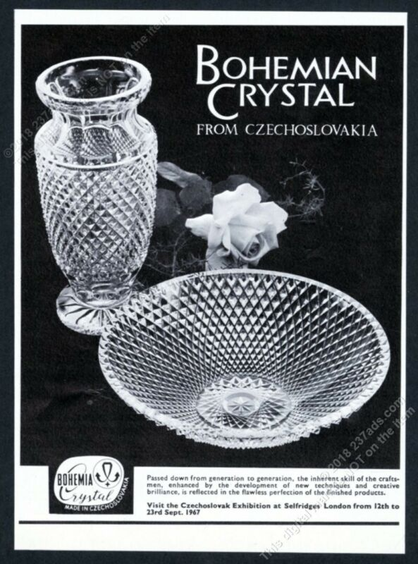 1967 Bohemian Bohemia Crystal vase bowl photo vintage print ad