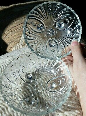 2 Anchor Hocking clear depression glass footed DOTS & SWIRL berry dessert bowls