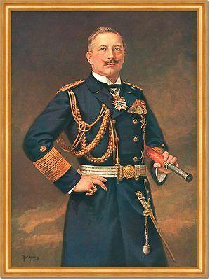 Deutscher KAISER WILHELM II. MARINEUNIFORM Fernglas AUF LEINWAND 4 im Goldrahmen