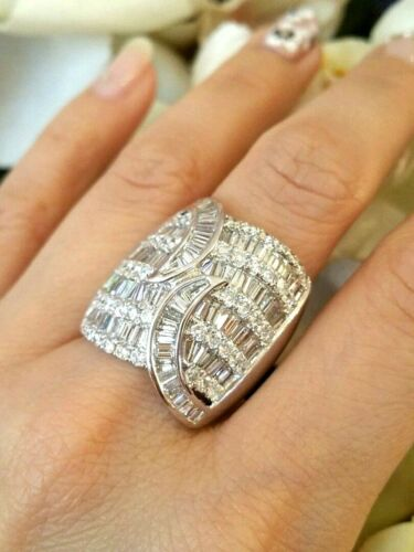 5.00 Ct Wide Domed Baguette And Round Diamond Ring In 18k White Gold  - Hm1669be
