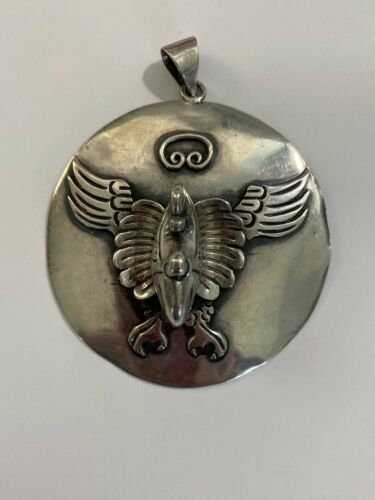Large Vintage Mexico Taxco Sterling Silver 3-D Eagle Pendant