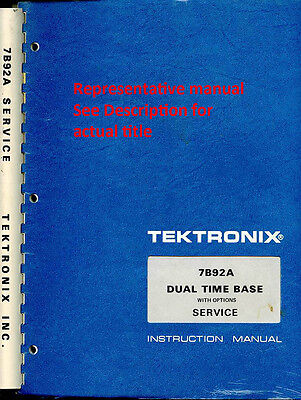 Instruction Manual For The Tektronix Tg501 Timing Generator Earlier Version