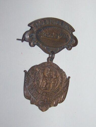 1913 ANTIQUE CIVIL WAR 47th NATL ENCAMPMENT GAR  MEDAL BADGE PORT HURON MICHIGAN
