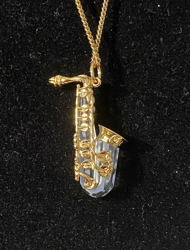 Swarovski Vintage Gold And Crystal Memories Saxophone Necklace Swan Signed
