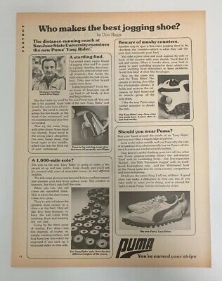 1977 Puma Easy Rider Running Shoes San Jose State Don Riggs Print Ad Jogging
