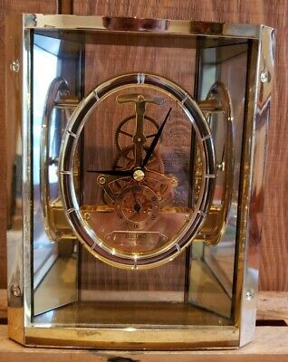 Vtg Seiko Quartz Brass Skeleton Desk Mantle Clock QAW110G *Parts or Repair*