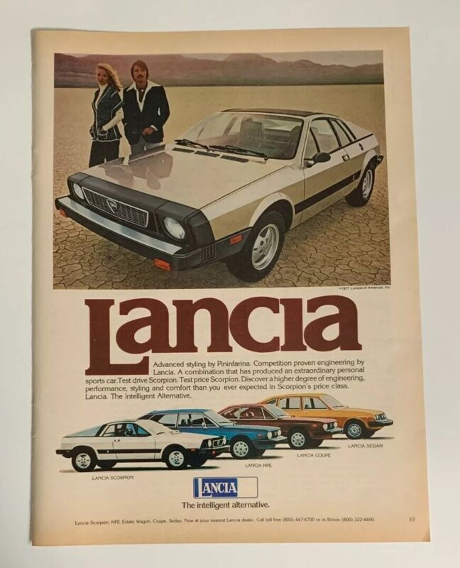 1977 Lancia Scorpion HPE Coupe Print Ad The Intelligent Alternative Italy