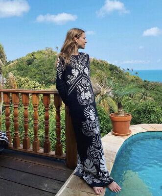 H&M Johanna Ortiz Crepe Leaf Print Maxi Dress Size M Sold Out Black & White Blog