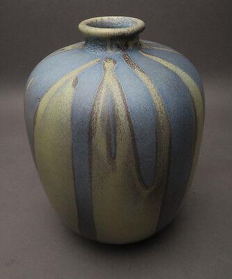 Karlsruhe Majolika Vase Nr. 7825 Friedgard Glatzle blau braun ca. 18,5 cm